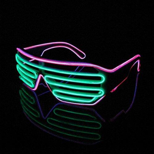 Lerway 2 Bicolor EL Wire Leuchtbrille Leuchten LED Shutter Shade Brille Fun Konzert für Masquerade Party, Nacht Pub,Bar Klub Rave,70er 80er 90er Kostüm (Hellgrün+Rosa )