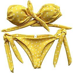 HARRYSTORE Bikini Bandeau Con Lazo Y Relleno De Lunares Playa Bañador Baño Trajes (Amarillo, L)