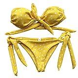Italily - Bikini Donna Costume da Bagno Sexy Stampato a Pois, Imbottito Push-up, Imbottito da Bagno, Costumi da Bagno, Costumi da Bagno (Giallo, S)
