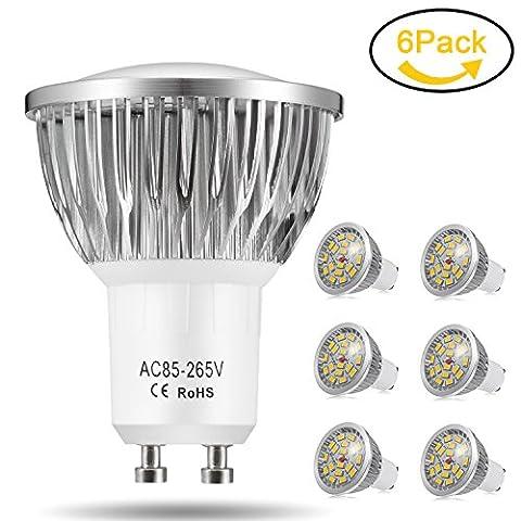 Jpodream 7W GU10 LED Lampen, Ersatz für 50W Halogenlampen, 550LM, Warmweiß 3200K, 85 - 265V AC, 140°Strahlwinkel, LED Lampe, LED Birnen, LED Leuchtmittel, 6er Pack