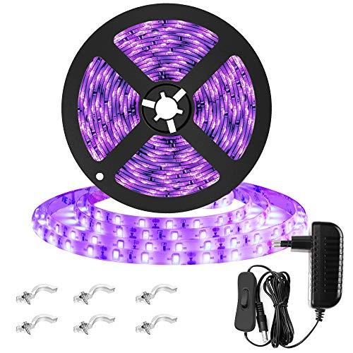 Onforu 5M Luz UV Tiras Cadenas LED, IP65 Impermeable Ultravioleta 300 LEDs 12V 2835 SMD, Adaptador Incluido, Decoración Iluminación Interior Flexible para Bar Club DJ Disco Fiesta KTV Pintura Corporal