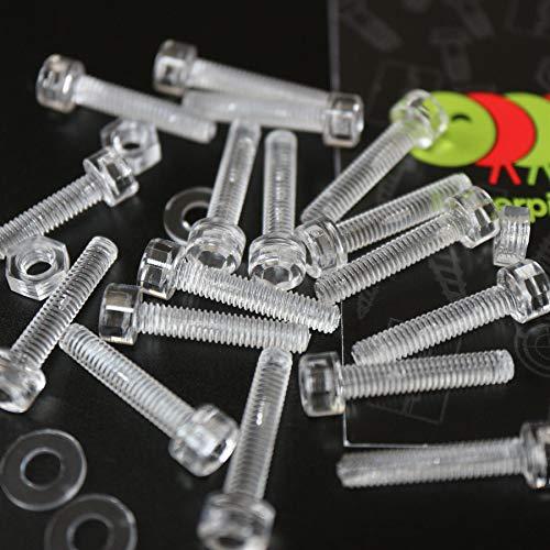 50 x Polykarbonat-Inbuskopf, Sechskantkopf-, Kunststoff-Maschinenschrauben, M4 x 20mm, Kunststoffschrauben, Muttern & Unterlegscheiben -
