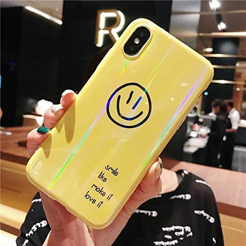 MYPPHD Handy-Fälle Netter Lächeln-Buchstabe TPU-Telefon-Kasten für iPhone XGlatte weiche TPU-rückseitige Abdeckung für iPhone 7 8 6s 6 Plus Abdeckungs-Kasten (Metall Telefon-kasten Iphone 5)