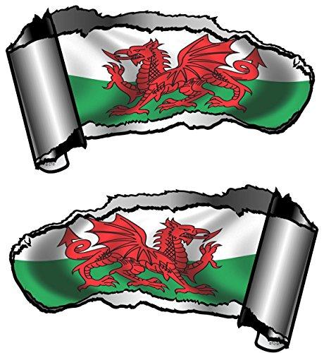 Piccolo Handed paio di novità strappato strappati aperto Gash effetto metallo decalcomania auto rivelare Welsh Dragon Wales Cymru bandiera design 93x 50mm