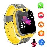 Reloj Inteligente para niños con Juegos - Niños Chicas Reloj Digital Pulsera de 2 vías Llamada Reloj Despertador Juegos de cámara Reloj Infantil para niños de 3 a 12 años (Amarillo)