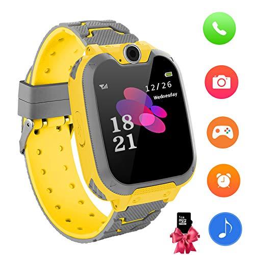 ch Uhr-Spiel Kamera Smart Watch Touchscreen Elektronische Lernspielzeug Digitale Armbanduhr für Jungen und Mädchen (Yellow) ()