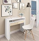 Mesa escritorio desplazante blanco artic y roble canadian para estudio, oficina o...