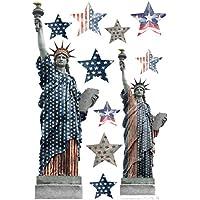 Plage Decoración Mural Adhesiva con Diseño Estatua De La Libertad, Vinilo, Multicolor, 48x68 cm