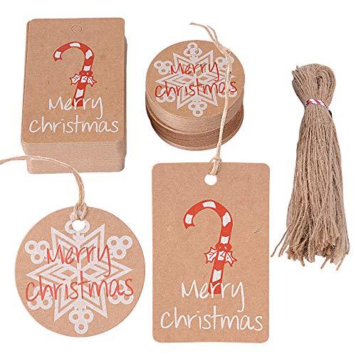 100pz etichette natalizie 100pz corda iuta targhette cartellini carta cartellini piccole rosso decorazione per natale regalo scatole bomboniere sacchetti (50pz caramella + 50pz fiocco di neve)