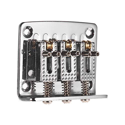 Ponte fisso per chitarra a 3 corde con viti e chiave, parti di ricambio per ukulele, chitarra elettrica, colore nero, Silver 3 Strings
