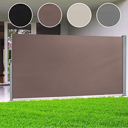 casa pura® Seitenmarkise Braun | ausziehbar bis 300 cm Länge | effektiver Sichtschutz, Sonnenschutz & Windschutz | für Terrasse, Balkon und Garten | viele Höhen (Größe Stoffbahn HxL 200x300 cm)
