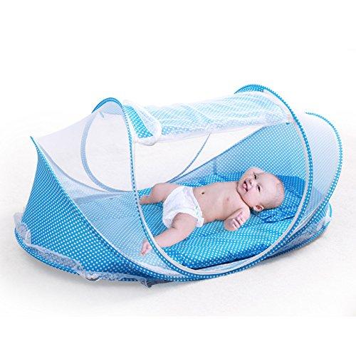 JYSPORT Baby Mosquito Net tragbar für Reisen, Falten Baby Krippe Moskitonetz Portable Bettwaren Baby Kinderbetten für 0-18 Monat (Blue)