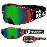 TWO-X Rocket Crossbrille Crush schwarz rot Glas verspiegelt grün MX Brille Nasenschutz Motocross Enduro Spiegelglas Motorradbrille Anti Scratch MX Schutzbrille Nose Guard
