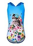 Blau Badeanzug für Mädchen,Bandage Bademode Süß Drucken Baby Anzug Größe XL