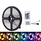 Waterproof LED Strip Lights Only, LED Tape Without Plug, iNextStation� 12V DC 5M 5050 RGB SMD Color Changing Flexible 300 LED Strip Light with 24 Key IR Remote Control for Kitchens,Bedroom,Home Led Lighting Bars,Restaurants,For Car,Garage [Energy Class A++]