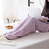Yunhigh handgefertigte gestrickte Meerjungfrau Schwanz Decke Häkelarbeit werfen Decke Bequeme Sommer Schlafsack Klimaanlage Decke Couch Sofa Bett Stuhl Wohnzimmer - weiß