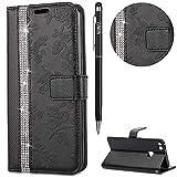 WIWJ Schutzhülle für Huawei P10 Lite Handyhülle Leder Case für Huawei P10 Lite Hülle Lederhülle Flip Wallet Cover [Point-Dril