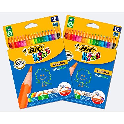 BIC Kids Evolution ECOlutions Crayons de Couleur - Coloris Assortis, Lot de 2 Etuis Carton de 18