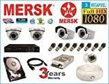Mersk Exclusive 4 Ch Dvr & Mersk Full HD (3MP) CCTV Camera Kit with (All Required Accessories) Note : No Installation Service