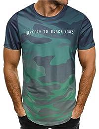 T-Shirt da Uomo con Lettere Stampate,NINGSUN Camicetta Top a Maniche Corte da Uomo alla Moda con personalità Camouflage Men Maglietta per Camicetta Moda Tee Camicie