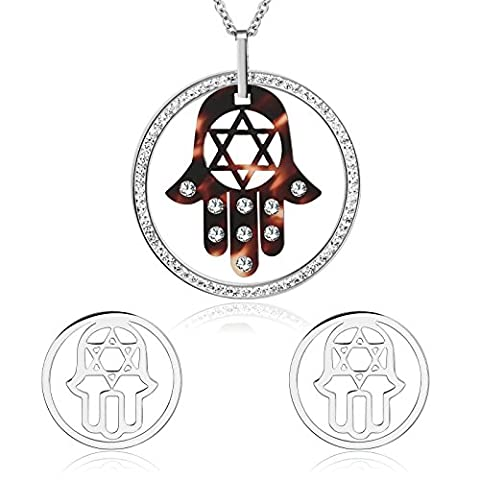 Epinki Damen Schmuck-Set Cubic Zirkon Palme Form Kristall Silber Rot Halskette Ohrringe Valentinsgeschenk Weihnachtsgeschenke
