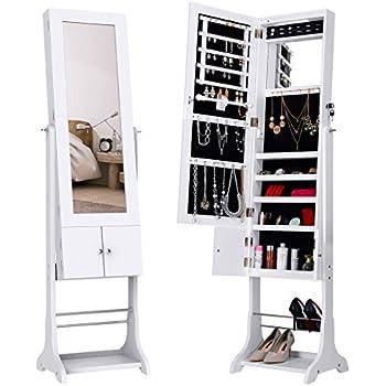 langria armoire miroir bijoux sur pied int rieur velout avec lumi res led verrouillable. Black Bedroom Furniture Sets. Home Design Ideas