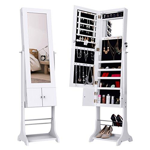 Langria armadio specchio portagioie gioielli a chiave stand bloccabile con specchio armoire organizer con luci a led