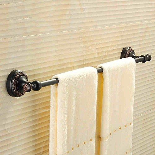 FUFU Barres de Serviette Porte-serviettes de toilette en cuivre noir/or (Couleur : Noir)