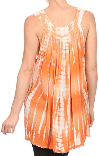 Sakkas Kalelay longue sans manches Grand Tie Dye brodé Tank Top Blouse Shirt Orange