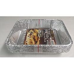 Paquete de 10 bandejas descartables de aluminio para horno de Gastronorm. Tamaño intermedio de profundidad, medidas 324x 263x 65