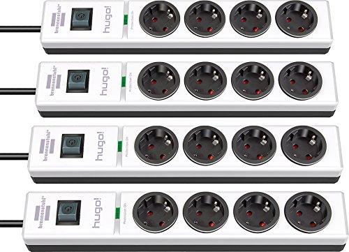 4er Pack Brennenstuhl hugo! Steckdosenleiste 4-fach mit Überspannungsschutz (2m Kabel und Schalter, Gehäuse aus stabilem Polycarbonat) Farbe: weiß/schwarz