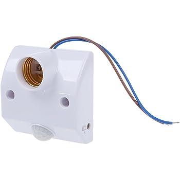 Rajotero - Soporte de bombilla E27 con sensor de movimiento por infrarrojos para lámparas LED