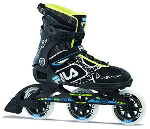Fila Herren Legacy PRO 100 Inline Skate, schwarz/blau/Lime, 10,5
