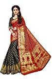 Indian Fashionista Silk Saree with Blouse Piece (INDLotus-Red-Black_Red_One Size)