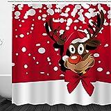 Weihnachtsdeko-Duschvorhang, Frohe Weihnachten, Schneemann und Weihnachtsmann, Duschvorhang, wasserdicht & schimmelresistent, Polyester Stoff für das Badezimmer, 1877#, 180 * 180cm