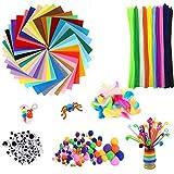 AKKlenz 640 Stück Kinder Bastelset Pfeifenreiniger Pluesch Bunte Mini Pompons 40 Farben Bastelfilz Filz Bastelfedern für Kinder DIY Handwerk