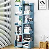 Gokiu Shelf Bookshelf, Floorstanding Bookshelf Modern Bookshelves Wooden Bookcase Simple Living Room Storage Organizer Shelf,blue2,10layers