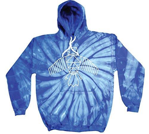 '123T Mugs Tie Dye Festival Eagle Design–NEUE PREMIUM Tie Dye Hoodie (verschiedene Farben) S M L XL 2X L Gr. Large, Blau - Königsblau (Neue Tie Dye Baumwolle)