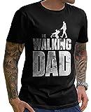 Stylotex Lustiges Herren Männer T-Shirt Basic | The Walking Dad | Geschenk für werdende Papas, Größe:XL, Farbe:schwarz