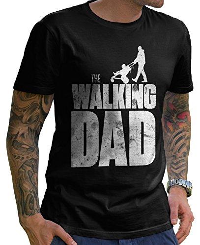 Stylotex Lustiges Herren Männer T-Shirt Basic | The Walking Dad | Geschenk für werdende Papas, Größe:L, Farbe:schwarz