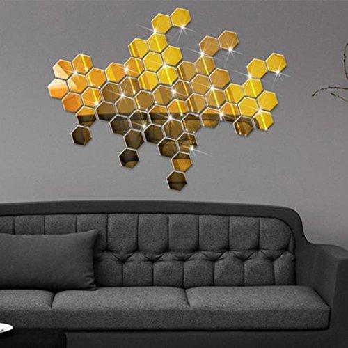 Voiks DIY 3D Acrílico Espejo Hexagonal Decorativo