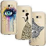 [3 Stück] Samsung Galaxy A5 2017 Hülle, Blossom01 Cute Funny Kreative Cartoon Transparent Silikon Bumper für Samsung Galaxy A5 2017 - Eye & Butterfly Mädchen & Katze
