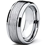 Moneekar Jewels Tungsten Carbide Men's Brushed Center Wedding Band Ring, Comfort Fit,8 mm