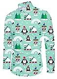 Funnycokid Hombre Navidad Ugly Christmas Camisas Impreso Largo con Botones Sleeved Classic diseñado Hipster Hombre Ugly Christmas Camisa