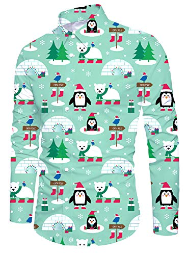 Funnycokid Hombre Navidad Ugly Christmas Camisas Tops