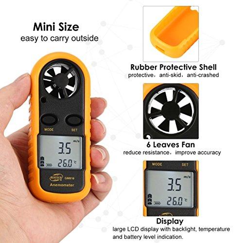 Footprintse BENETECH GM816 Digital Anemometer Thermometer Windgeschwindigkeit Luftgeschwindigkeit Luftstrom Temperaturanzeige Windmesser mit LCD-Hintergrundbeleuchtung