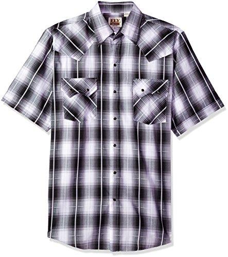 Ely & Walker Herren Short Sleeve Textured Plaids with Sawtooth Pockets Button Down Hemd, Black, Mittel -