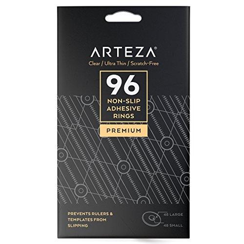 ARTEZA® Antirutsch Pads — Selbstklebende Glas Ringe — Transparente Anti-Rutsch-Sticker — 96 Gummi-Pads —Praktische Rutschhemmende Aufkleber