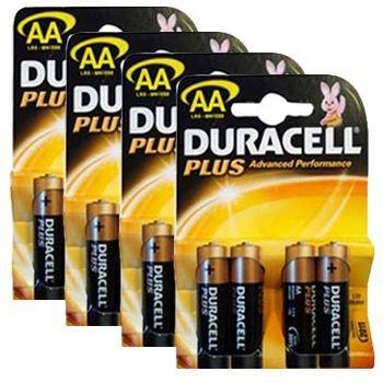 Duracell mn1500plus-b4(4Packungen) Plus Alkaline-Batterie AA Größe Alkaline General Purpose Batterie