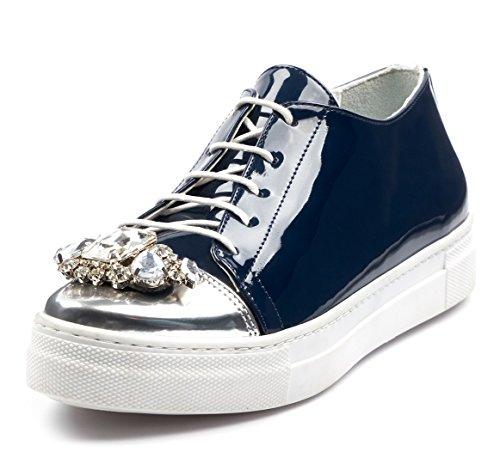 BOBERCK Krista Collection Women's Fashion Sneakers Patent PU (7 US, Navy) (Rock Aeropostale)